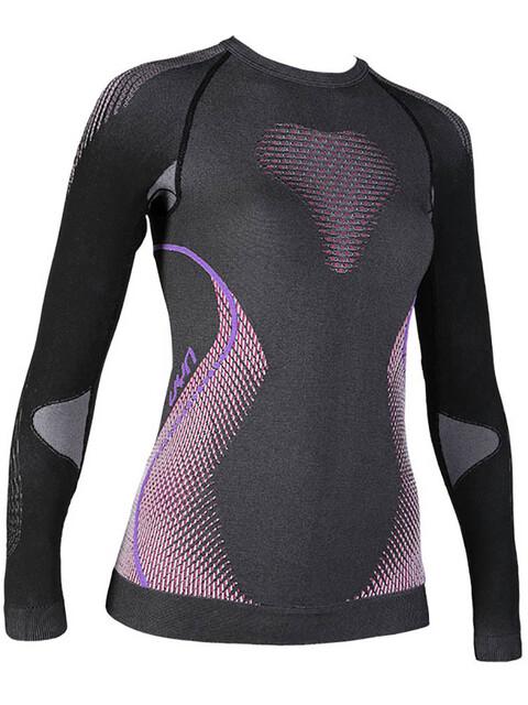 UYN W's Evolutyon Melange UW LS Shirt Anthracite Melange/Raspberry/Purple